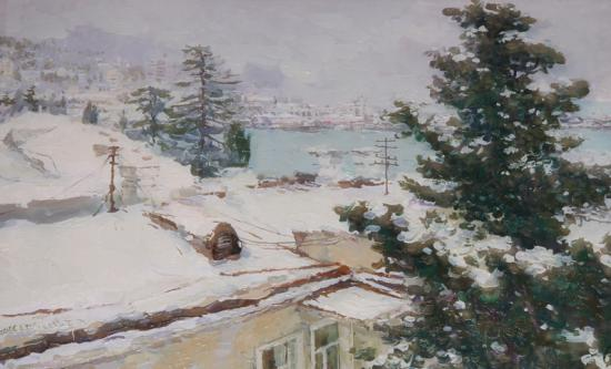 Ялта. Снег. Вид на Поликуровский холм с мастерской художника С. Бочарова.