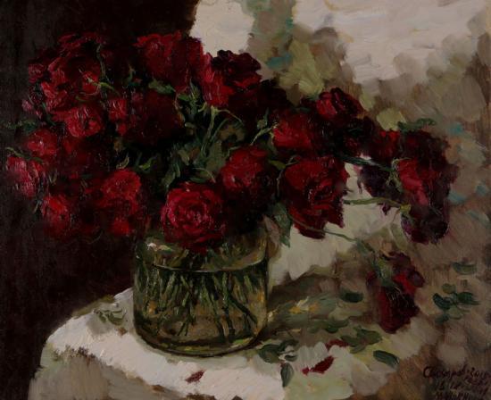 Бордовые розы с Бережков от Т. Маньшиной
