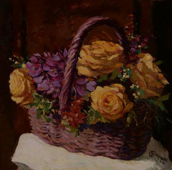 Розы в корзинке Жени