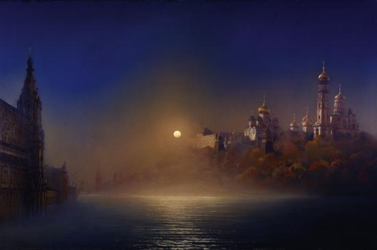 «Лунная ночь в Москве, во время половодья»