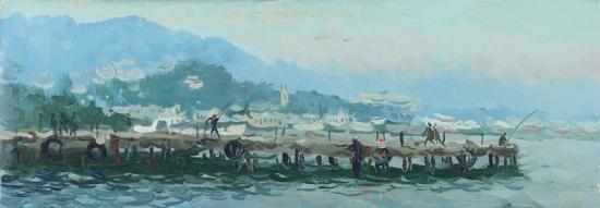 Серый день в Ялте.Рыбаки.